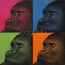 Pop art print - gorilla - wildlife painting